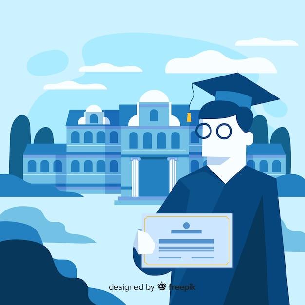 Sfondo universitario piatto graduato Vettore gratuito