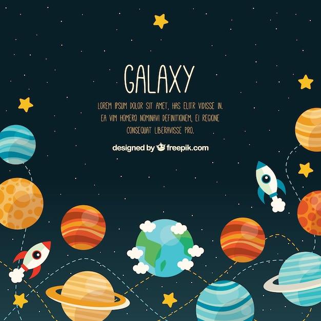 Sfondo universo con pianeti e razzi Vettore gratuito