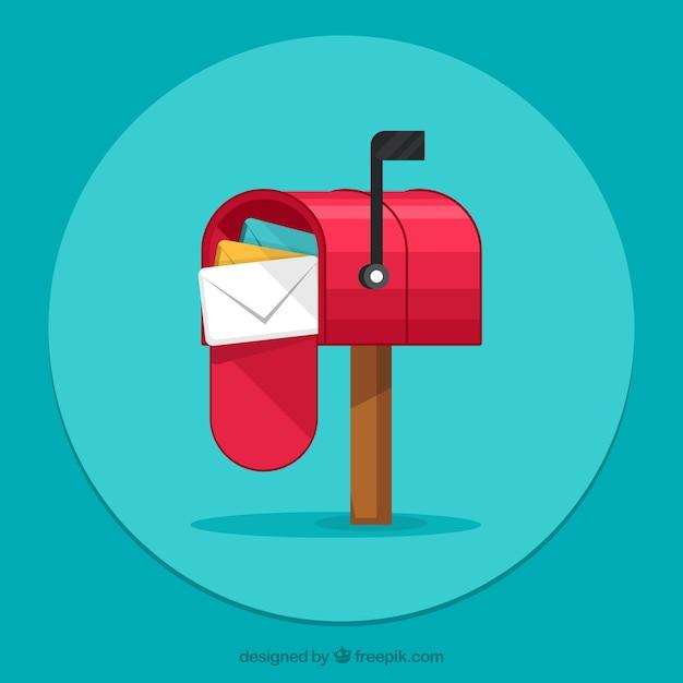 Sfondo verde casella e-mail con le buste Vettore gratuito