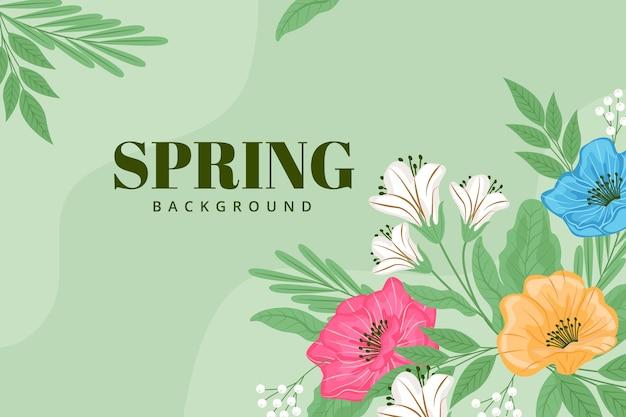 Sfondo verde con fiori di primavera Vettore gratuito