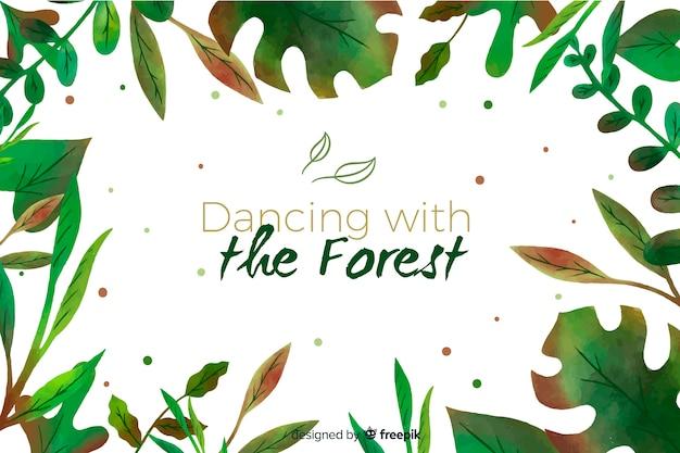 Sfondo verde natura con citazione Vettore gratuito