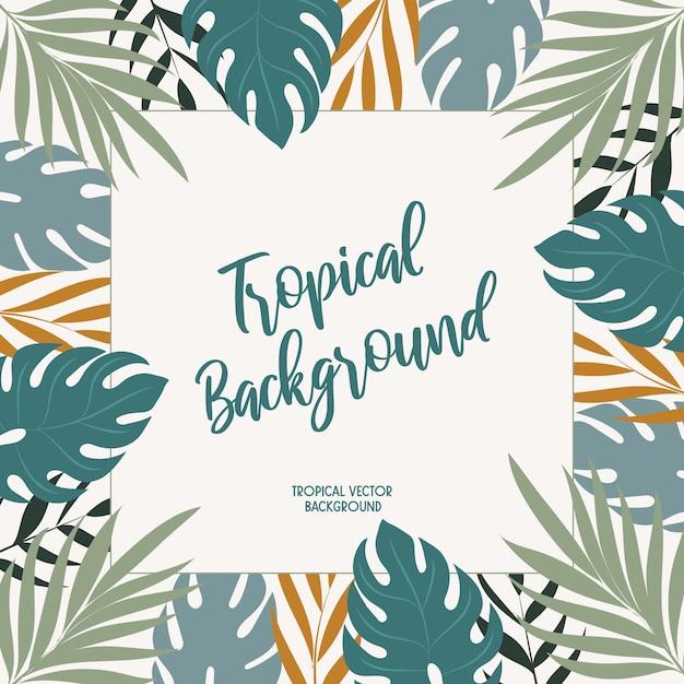 Sfondo vettoriale con foglie tropicali. Vettore Premium