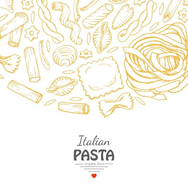 Sfondo vettoriale con pasta italiana Vettore Premium