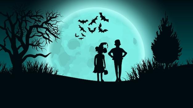 Sfondo vettoriale di halloween. bambini su moon road. Vettore Premium