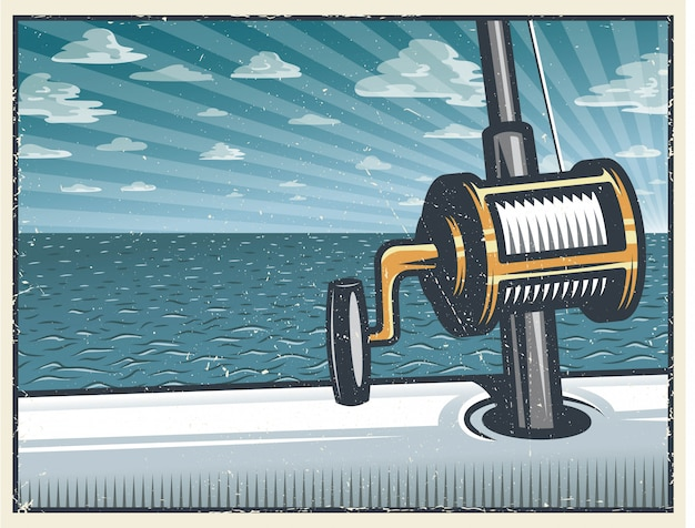 Sfondo vintage pesca d'altura Vettore Premium