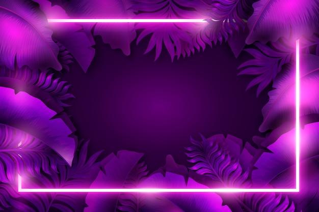 Sfondo viola con cornice al neon Vettore gratuito