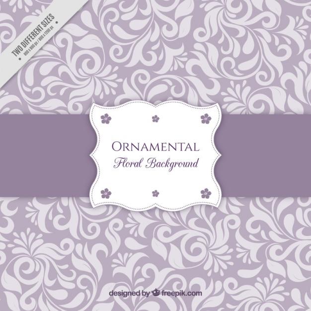 Sfondo viola con ornamenti floreali Vettore gratuito