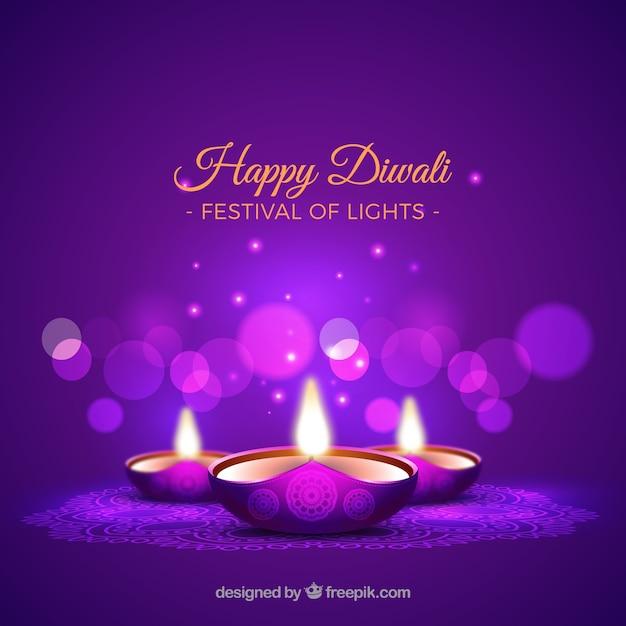 Sfondo viola di diwali candele Vettore gratuito