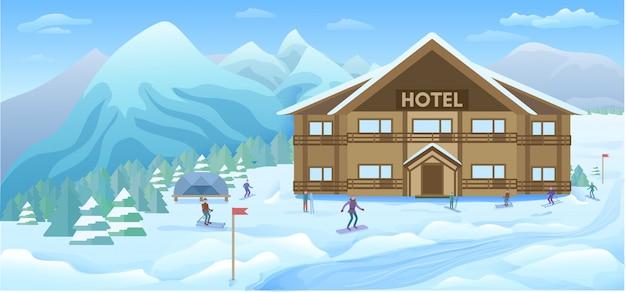 Sfondo winter resort Vettore gratuito
