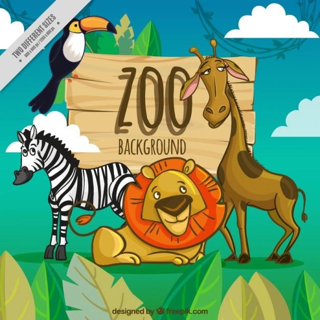 Sfondo zoo con gli animali dei cartoni animati scaricare