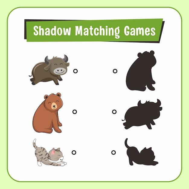 Shadow matching games animali buffalo bear cat Vettore Premium