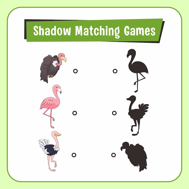 Shadow matching games animali struzzo vulture flamingo bird Vettore Premium