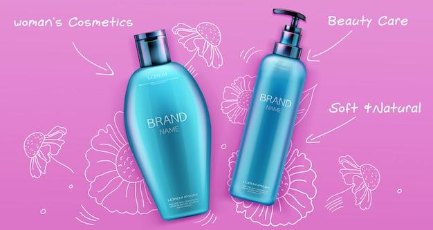Shampoo e balsamo prodotti cosmetici di bellezza per la cura dei capelli su rosa Vettore gratuito