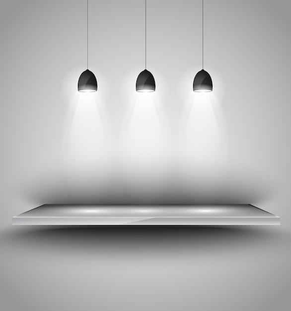 Shef con lampada a 3 faretti con luce direzionale Vettore Premium