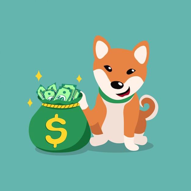 Shiba inu cane con sacco di soldi, personaggio dei cartoni animati Vettore Premium