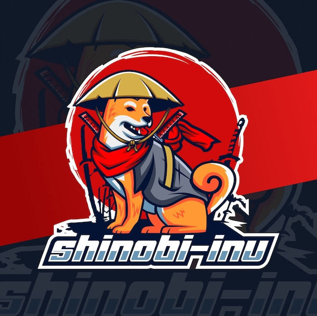 Shinobi inu cane mascotte esport design lgoo Vettore Premium