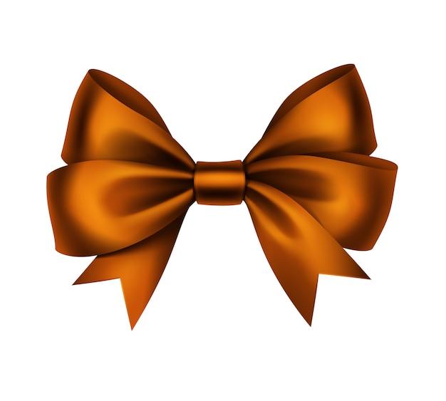 Shiny orange satin gift bow close up isolati su sfondo bianco Vettore Premium