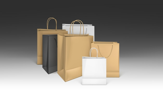 Shopper in carta, set di pacchetti vuoti mockup Vettore gratuito