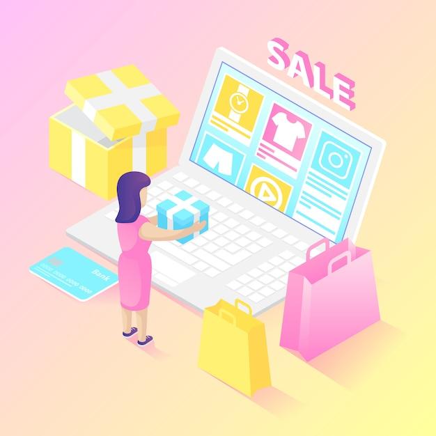 Shopper online isometrico Vettore gratuito
