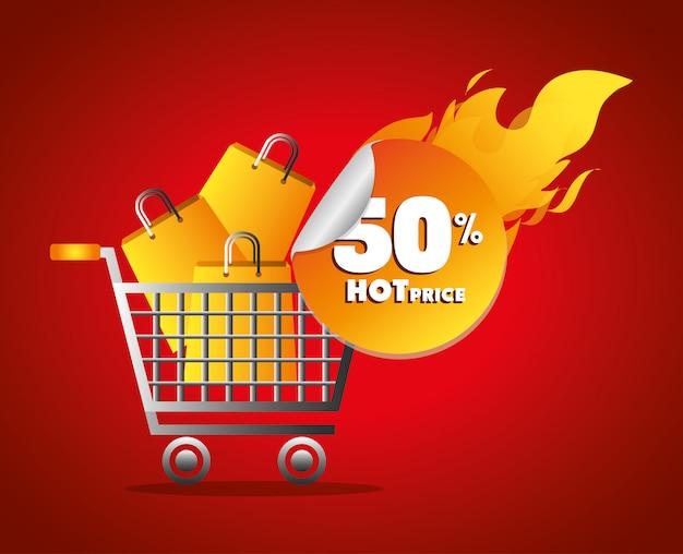 Shopping a tema prezzi caldi Vettore gratuito