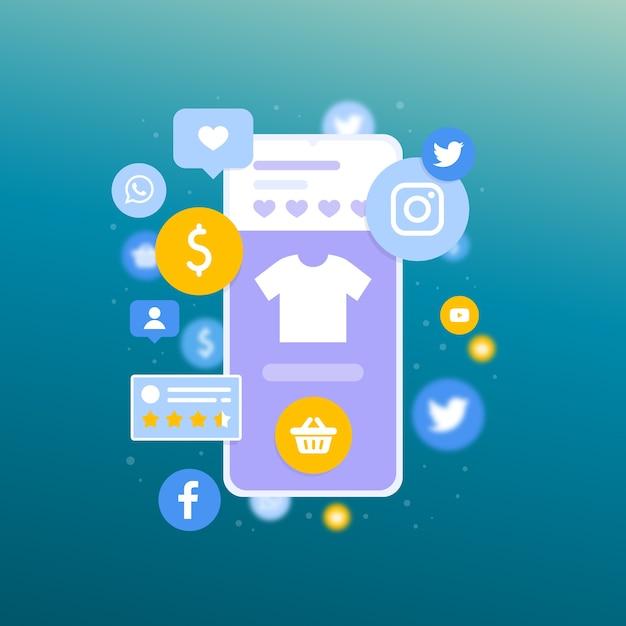 Shopping concetto di marketing online Vettore gratuito