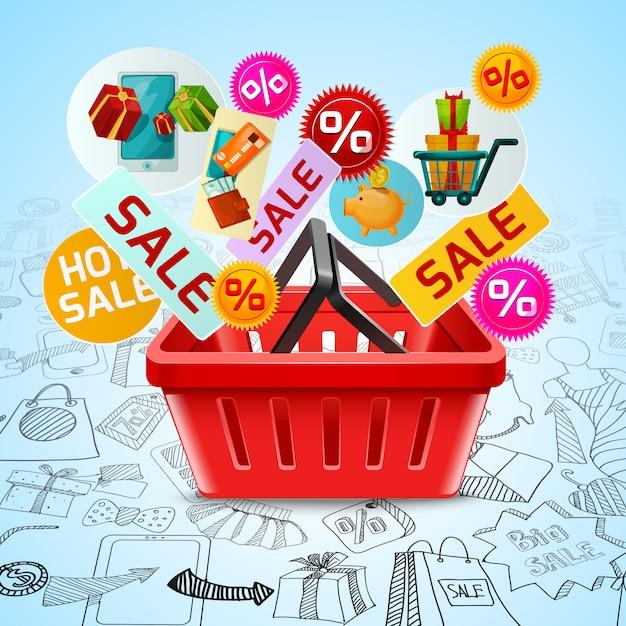 Shopping concetto di vendita Vettore gratuito