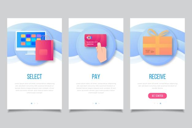 Shopping delle schermate delle app integrate Vettore gratuito