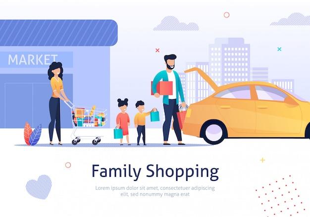 Shopping di famiglia, carrello con borse, merci vicino auto. Vettore Premium