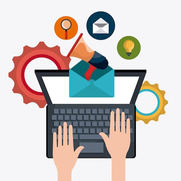 Shopping, e-commerce e marketing Vettore gratuito