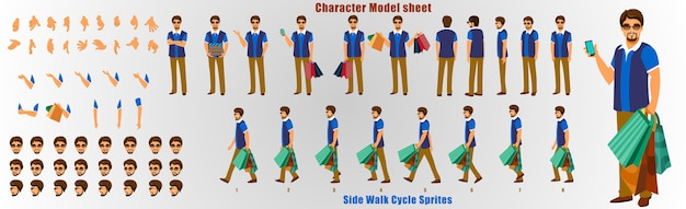 Shopping man character foglio del modello con ciclo di animazione sequenza di animazione Vettore Premium