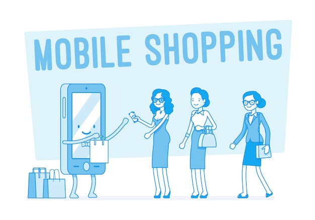 Shopping mobile per donne Vettore Premium
