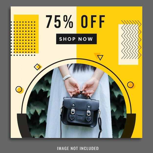 Shopping modello di social media post design Vettore Premium