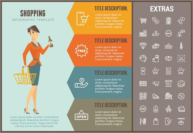 Shopping modello infografica, elementi e icone Vettore Premium
