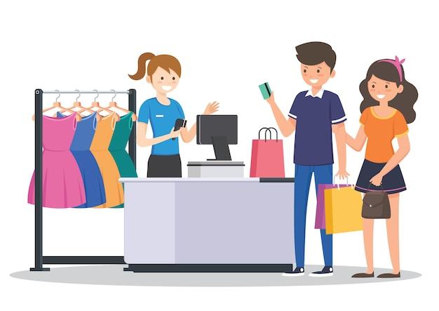 Shopping nel negozio di tessuti Vettore Premium