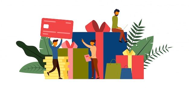 Shopping online, concetto di e-commerce con illustrazione di carattere Vettore Premium
