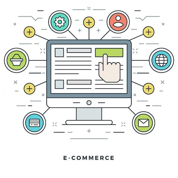 Shopping online ed e-commerce e design di icone di stile di linea. Vettore Premium