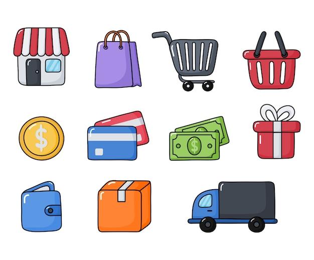 Shopping online icone messe isolate Vettore Premium