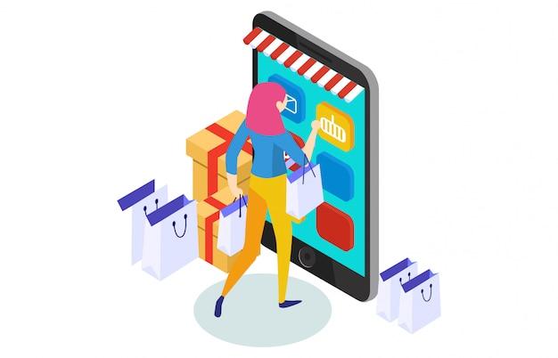 Shopping online illustrazione isometrica concetto Vettore Premium