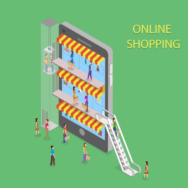 Shopping online isometrico Vettore Premium