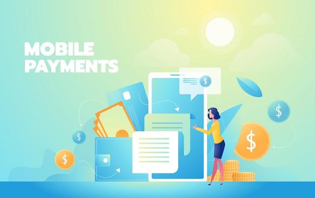 Shopping online moderna illustrazione piatta. pagamenti mobili Vettore Premium