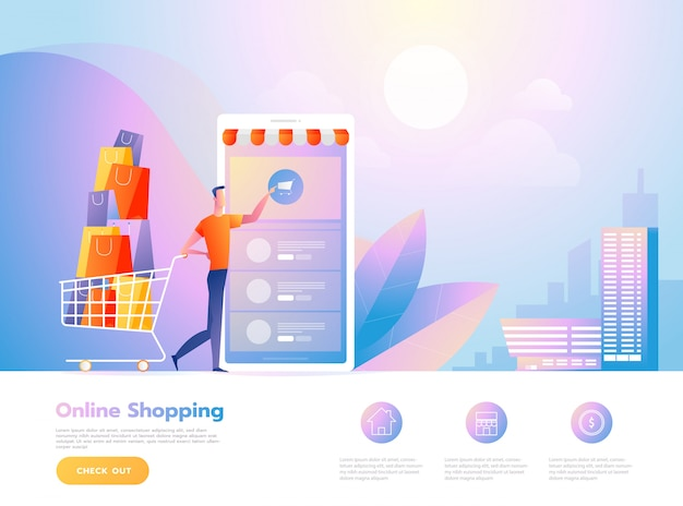 Shopping online persone e interagire con il negozio. modello di pagina di destinazione. illustrazione vettoriale isometrica. Vettore Premium