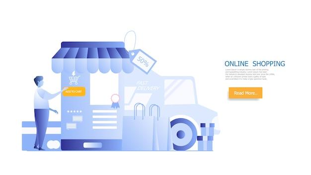 Shopping online, shopping uomo su smartphone Vettore Premium