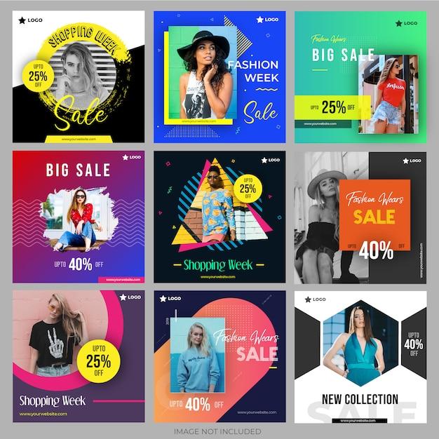 Shopping pack di social media per il marketing Vettore Premium