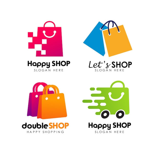 Shopping store logo design vettoriale Vettore Premium