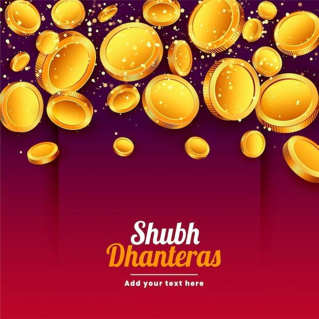 Shubh dhanteras caduta carta monete d'oro festival Vettore gratuito