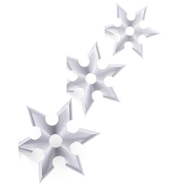Shuriken su bianco Vettore Premium