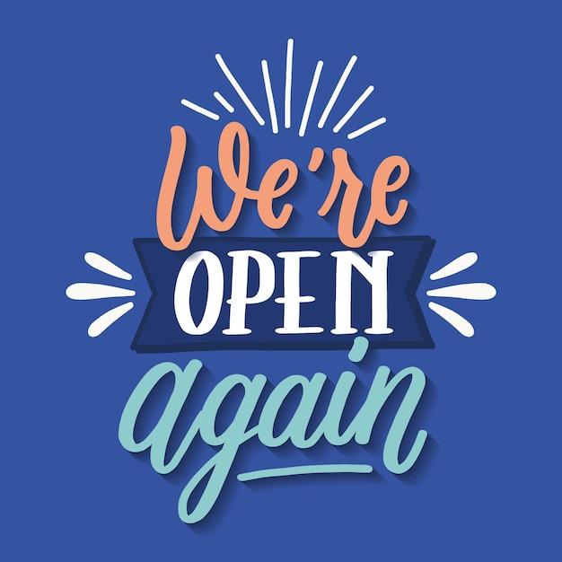 Siamo di nuovo aperti lettering Vettore gratuito