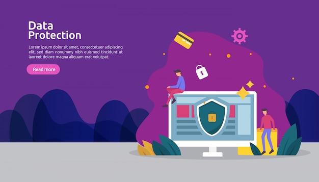 Sicurezza della rete di sicurezza e protezione dei dati riservati con carattere personale Vettore Premium