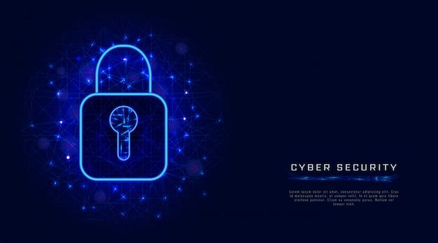 Sicurezza informatica, banner di protezione dei dati, simbolo di blocco, sfondo astratto. design della tecnologia cloud Vettore Premium
