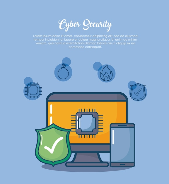 Sicurezza informatica con computer e icone correlate su sfondo blu Vettore Premium